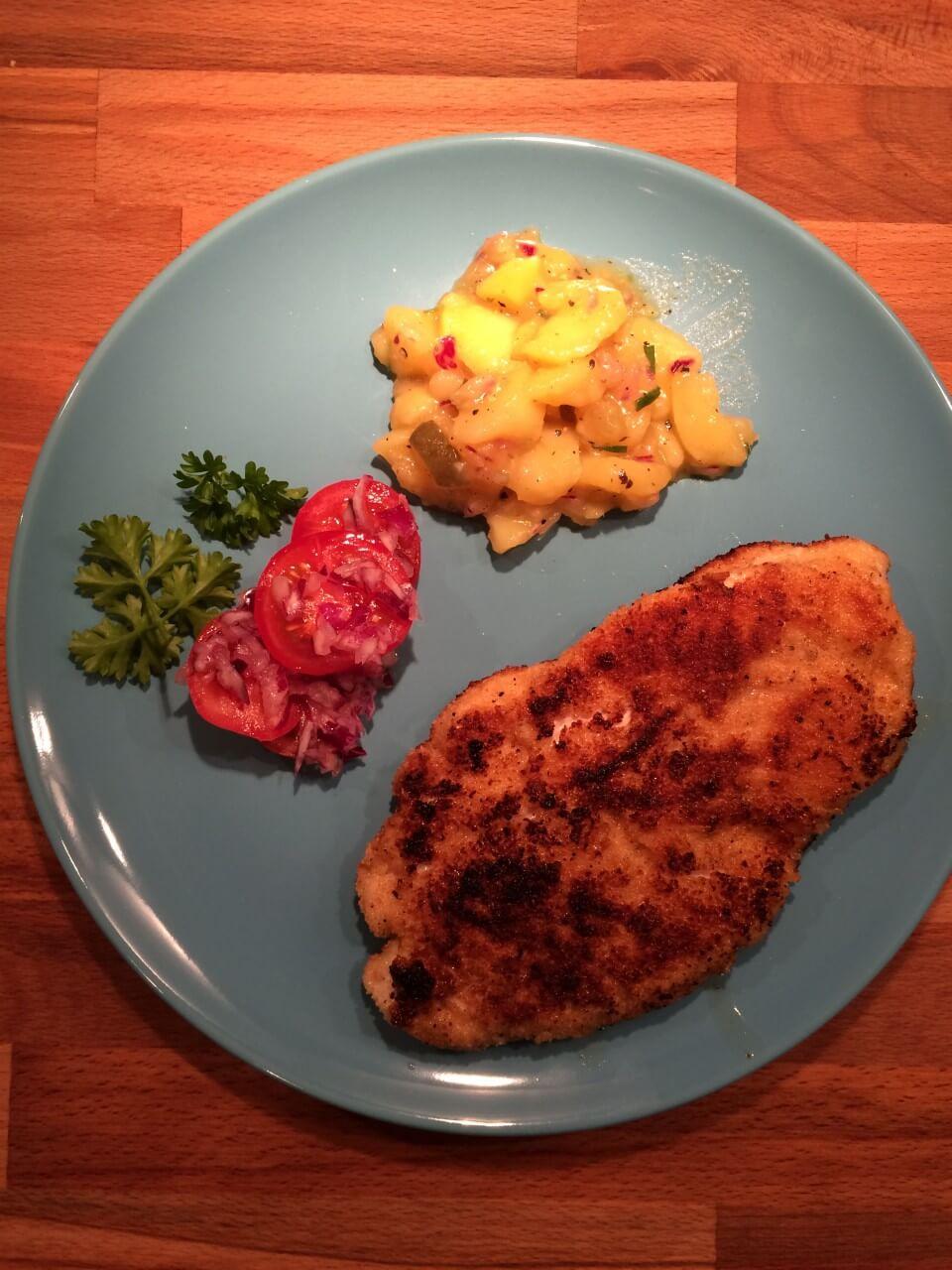 Putenschnitzel mit bayrischem Kartoffelsalat_2