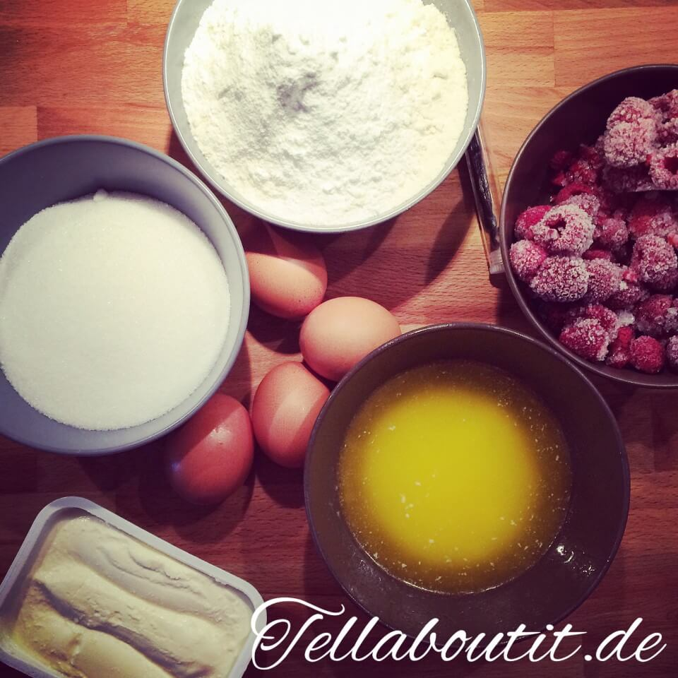 Zutaten für Himbeer-Frischkäse Muffins