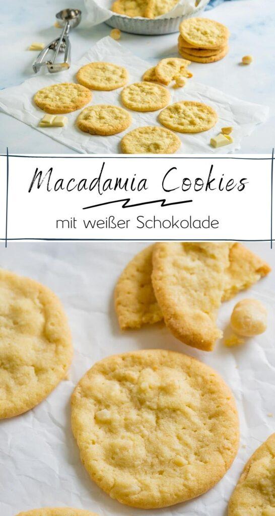 American Cookies selber machen - mit diesem einfachen Rezept gelingen sie dir garantiert. Flache Kekse, in der Mitte wunderbar weich. Auch für den Thermomix. #cookies #subway #copycat #macadamia #amerikanisch #kekse