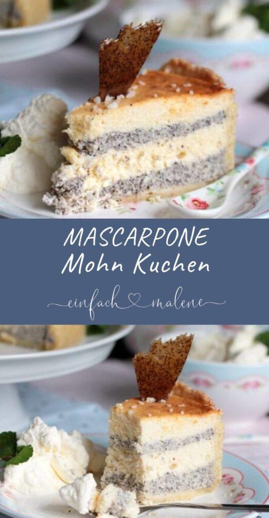 Käsekuchen mal anders. Die Mascarpone-Mohn-Torte schmeckt unglaublich lecker und ist herrlich cremig. Eure Gäste werden begeistert sein. #käsekuchen