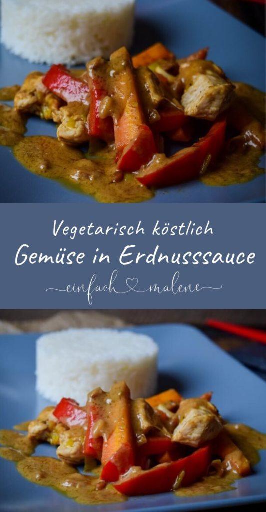 Super lecker und schnell gemacht - ganz ohne Fleisch. Leckeres Gemüse mit Reis in Erdnuss-Sauce #satay