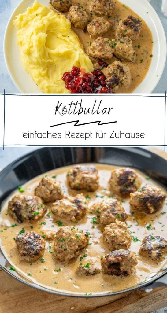 Schwedische Köttbullar wie bei IKEA. Zuhause selbst gekocht schmecken die noch viel besser. Mit cremiger Rahmsauce, Kartoffelpürre & Preiselbeeren. Lecker!