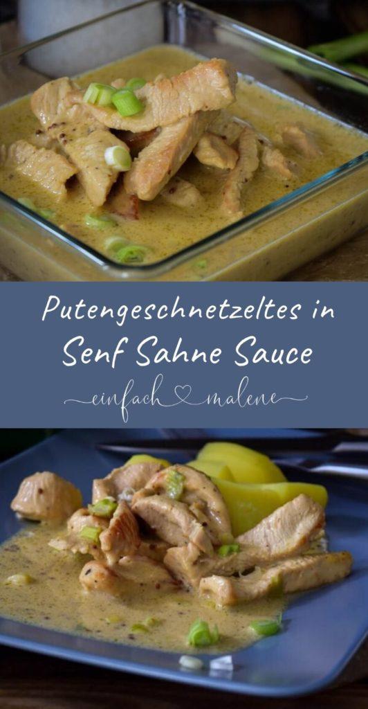 Kartoffeln mit Putenstreifen in Senf Sahne Sauce - dazu frische, knackige Frühlingszwiebeln, einfach und schnell zubereitet. Tolles Rezept und super lecker.