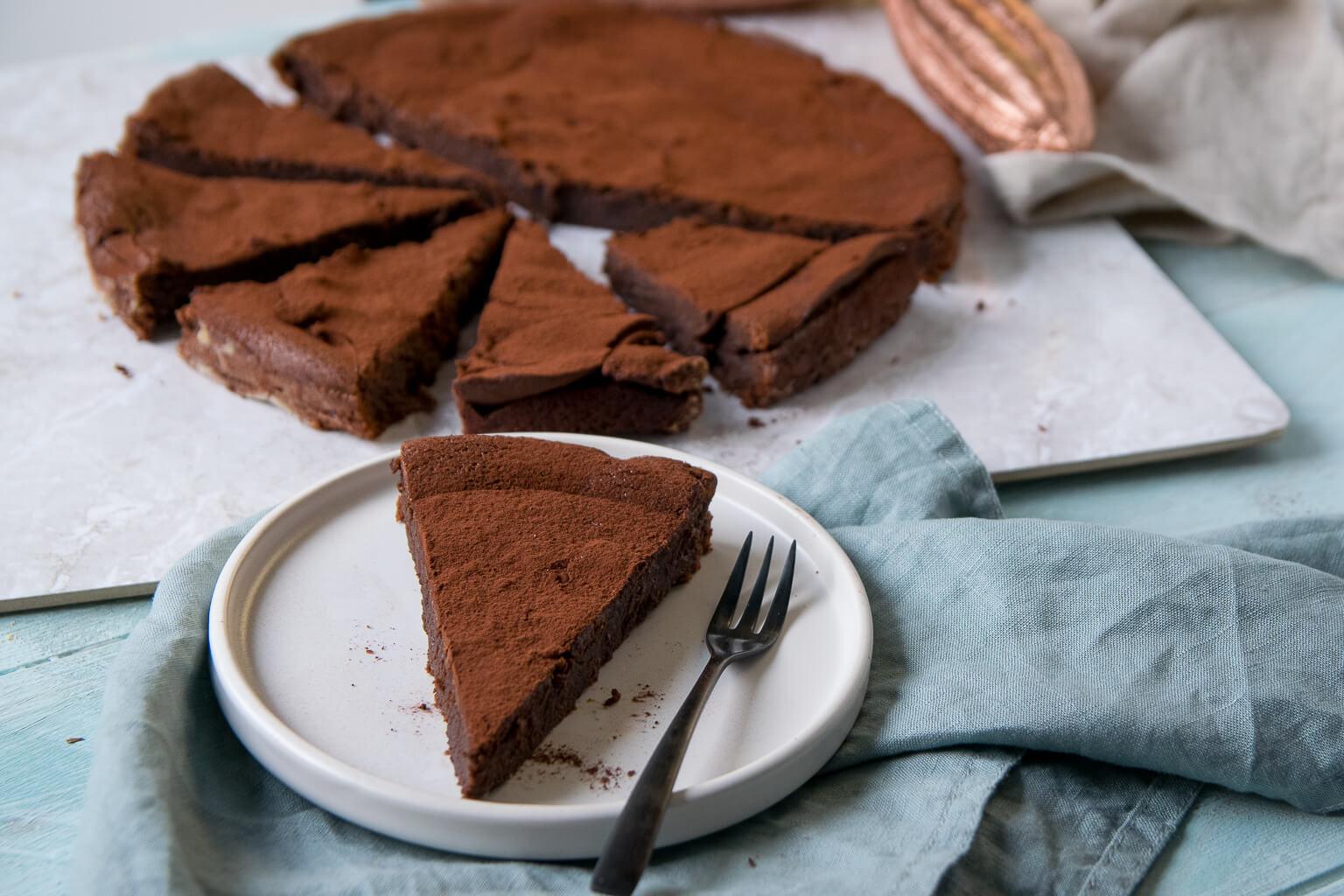 Dunkle Schokoladen Tarte mit Kakao
