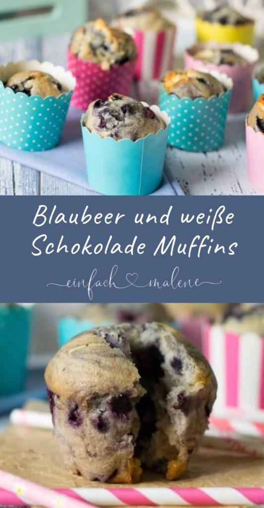 Diese Blaubeer Muffins mit weißer Schokolade sind so einfach wie genial. Zutaten verrühren, Blaubeeren und weiße Schokolade unterheben + ab in den Backofen.