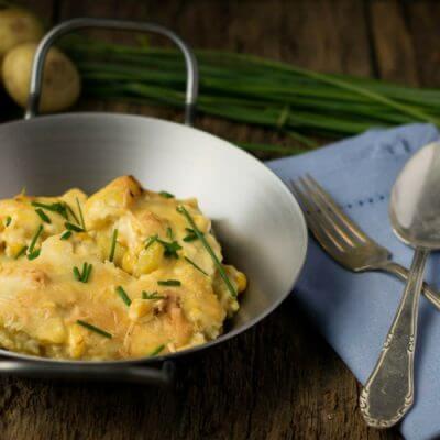 Easy Peasy Kartoffelgratin mit Mais und Sauce Hollandaise