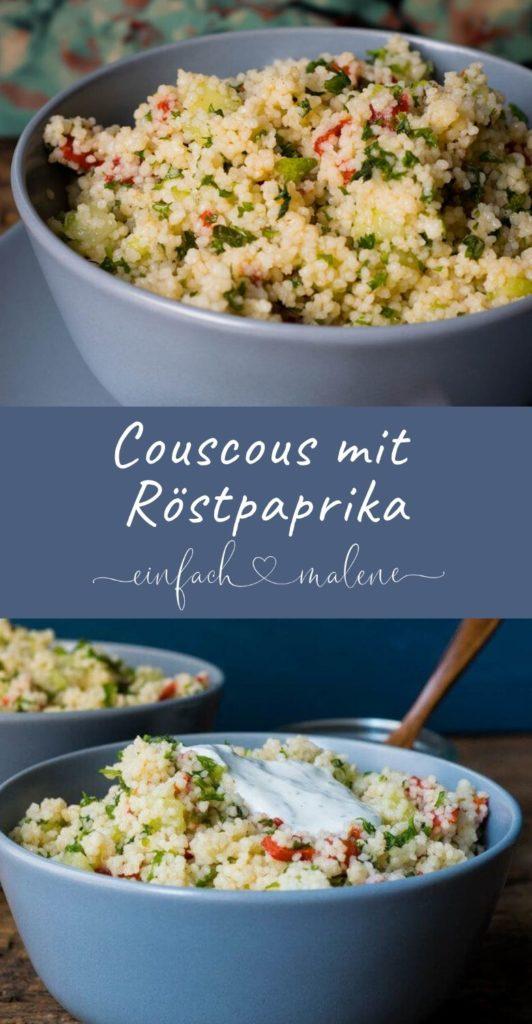 Couscous mit Röstpaprika. Perfekt als Beilage oder auch zum Grillen. Richtig gut passt dazu ein leichter Joghurt Dip