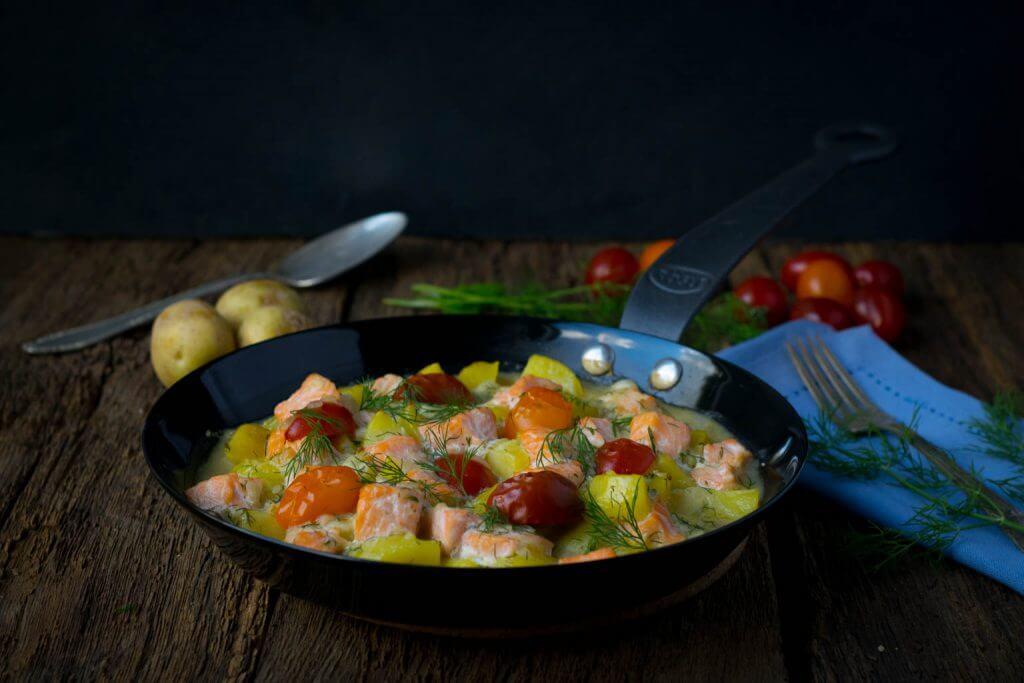Kartoffel Lachs Pfanne mit Dill
