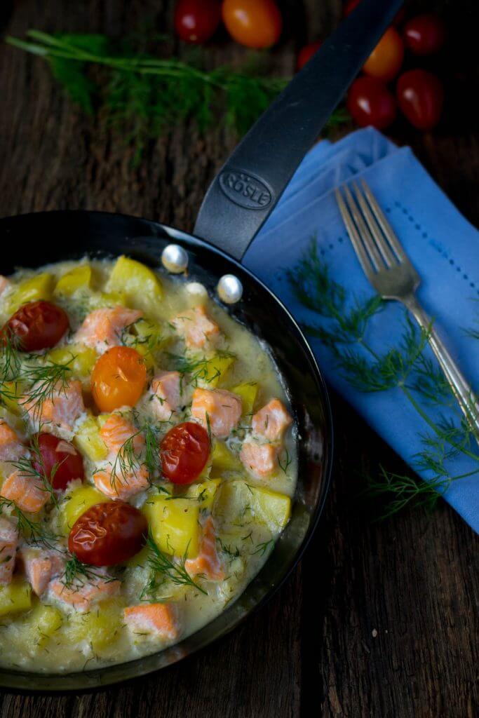 Cremige Kartoffel Lachs Pfanne mit Dill