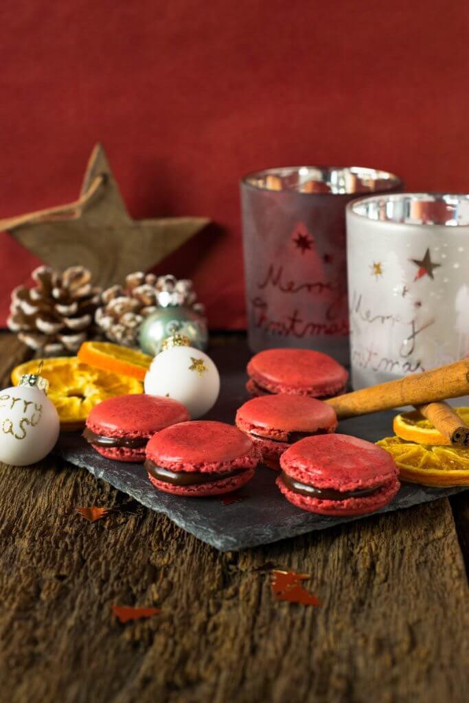 Weihnachtsmacarons - Schoko Orangen Macarons