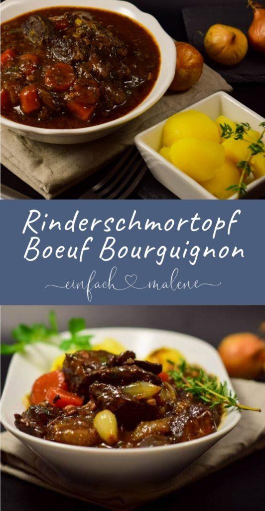 Rinderschmortopf im Boeuf Bourguignon Style ohne Pilze, dafür in Wein gedünsteten Perlzwiebeln. Das Rindfleisch wird im Rotwein gekocht und ist butterzart.
