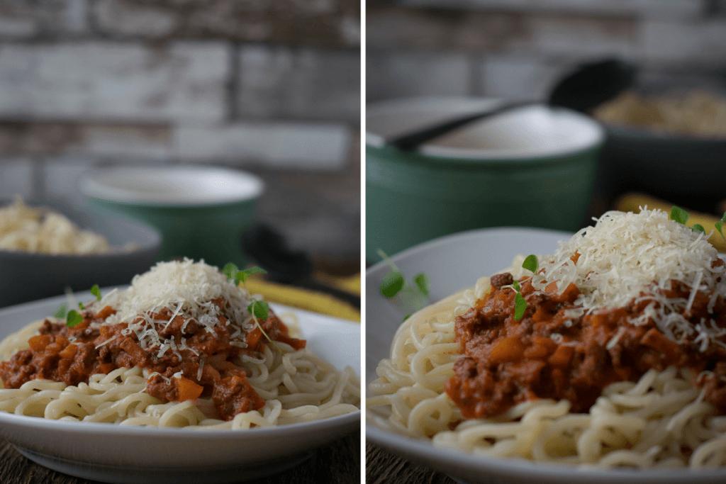 Bolognese mit Milch und besonders lange gekocht
