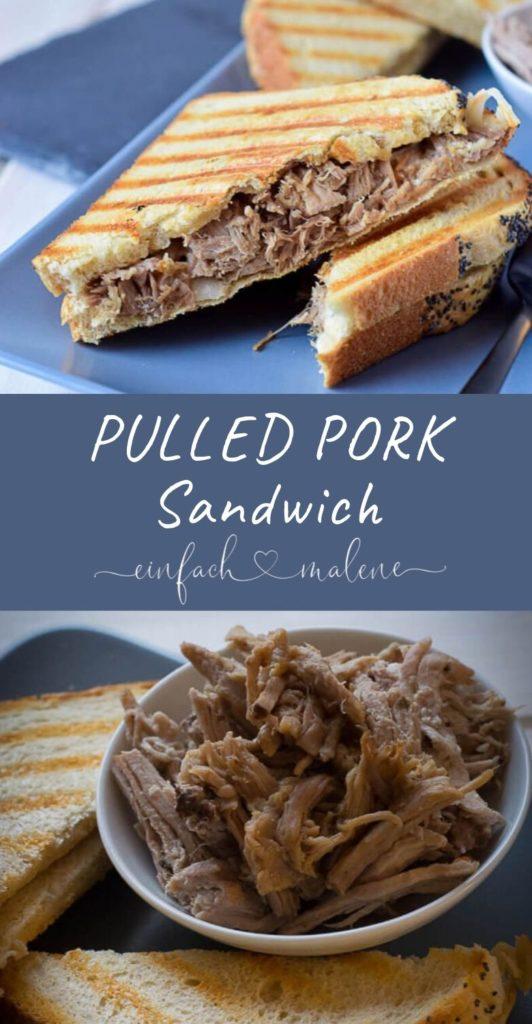 Mega Rezept - genial & lecker - BBQ Pulled Pork Sandwiches einfach selber machen. Das Pulled Pork wird durch Niedriggaren super zart und fällt beinahe von alleine auseinander. Besonders unkomplizierte Zubereitung im Slowcooker.