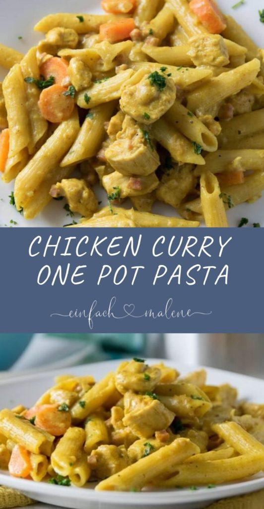 Diese One Pot Pasta in cremiger Currysauce mit Hähnchenbrustfilet und Mozzarella schmeckt absolut köstlich! Einfaches Rezept ganz ohne Kokosmilch.