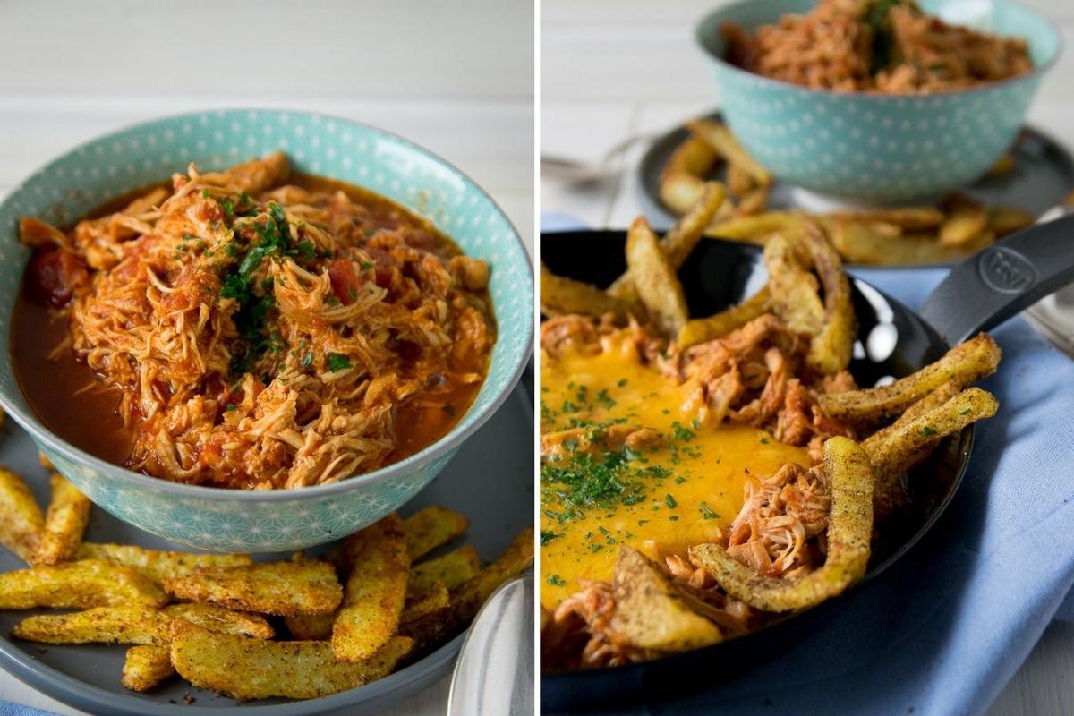 Cheesy BBQ Pulled Chicken mit würzigen Kartoffelspalten