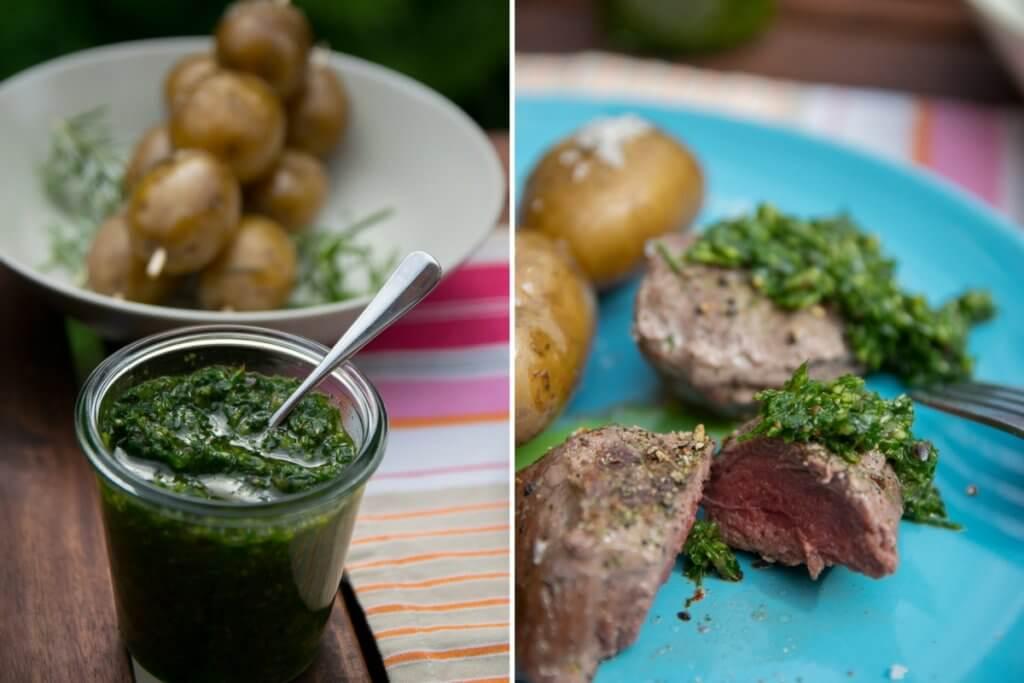 Rindersteak vom Grill mit argentinischer Steaksauce