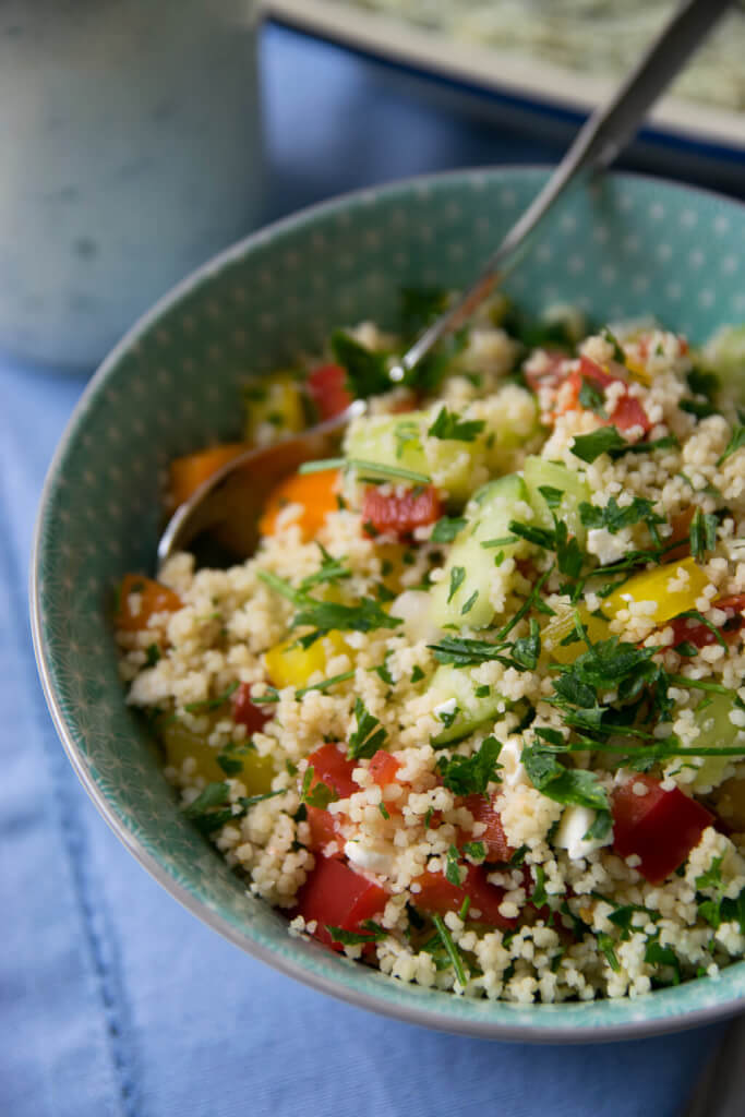 Super leckerer Couscous Salat mit Dressing