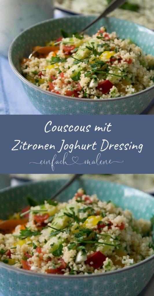 Super Grillbeilage: Vegetarischer Couscous mit Zitronen Joghurt Dressing. Dieser vegetarische Couscous Salat ist schnell zubereitet und schmeckt super erfrischend. Eignet sich hervorragend als Beilage zum Grillen. Super lecker!