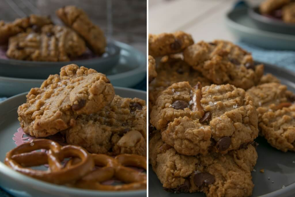 Salzbrezel und Erdnussbutter Kekse