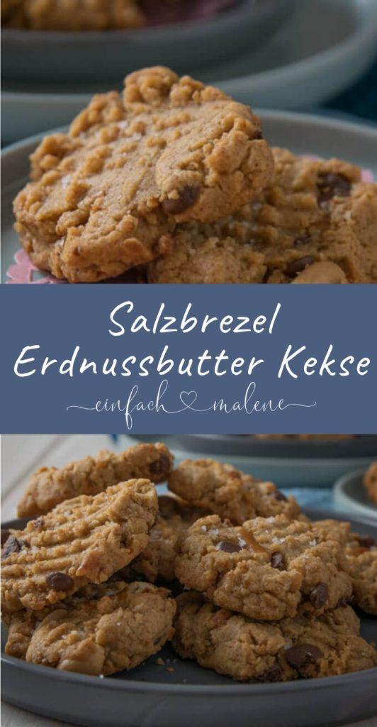 Erdnussbutter Salzbrezel Cookies - Diese Kekse schmecken einfach genial! Erdnussbutter und Salzbrezel in nur einem Keks! Süß trifft auf salzig - diese Cookies machen definitiv süchtig!
