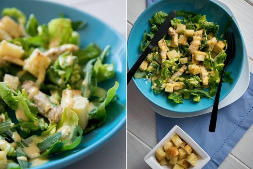 Selbstgemachte Knoblauch Croutons für Caesar Salat