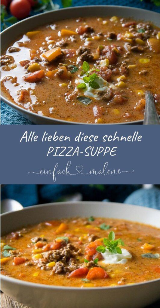 Wenn du Bock auf ein einfaches und leckeres Rezept hast, dann ist diese Pizzasuppe genau das Richtige für dich. Und satt macht diese Suppe garantiert! Dieses Rezept für Pizzasuppe ist super lecker und unglaublich einfach gekocht. #partyrezepte #schnellerezepte #schmelzkäse #hackfleisch  #suppenliebe #sattmacher #feierabendküche