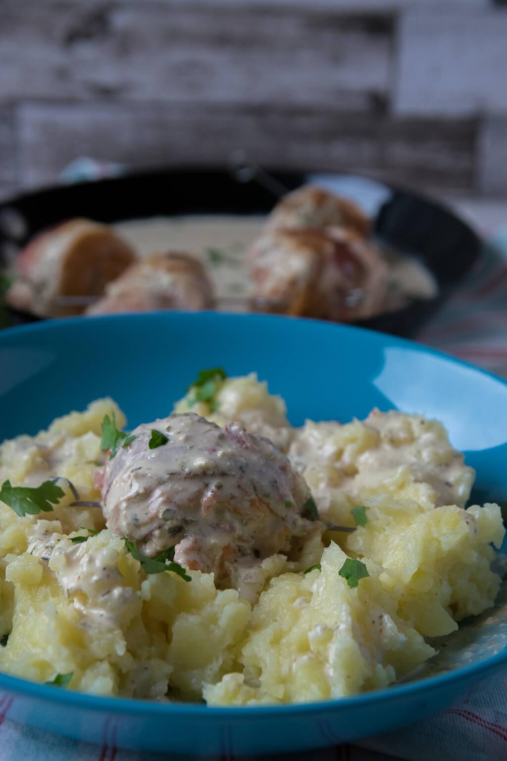Putenröllchen und Kartoffelbrei
