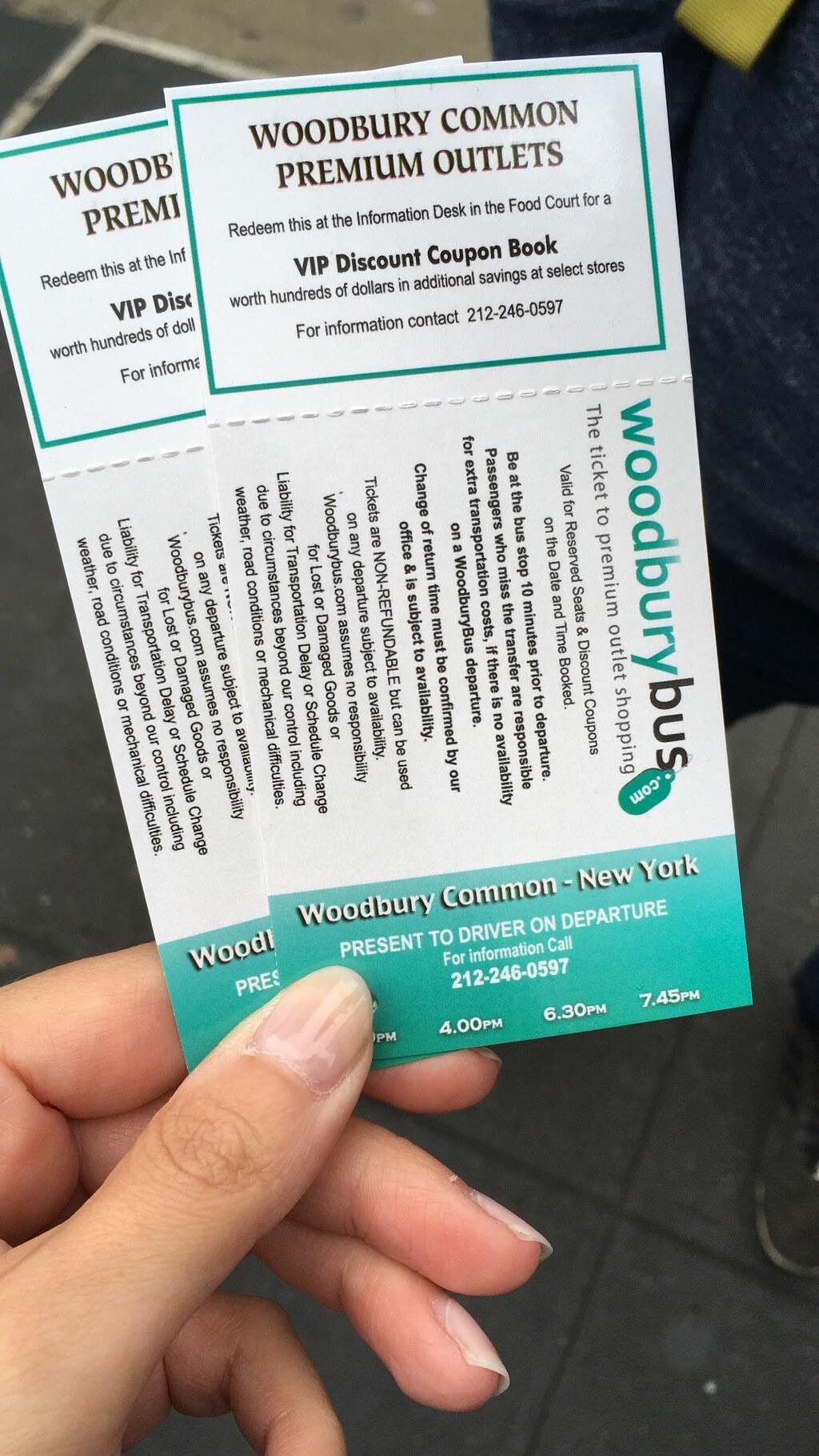 Tickets nach Woodbury zum Shoppen im Outlet