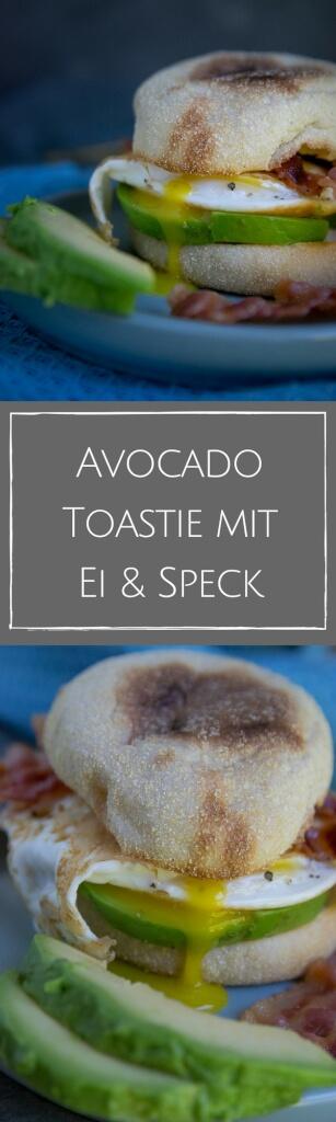 Geniales Frühstück, Avocado Toastie mit Speck und Spiegelei