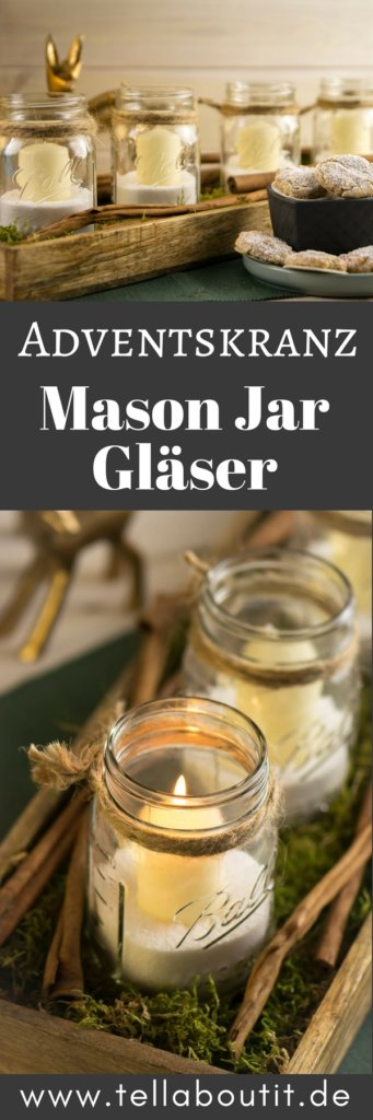 In nur 10 Minuten zauberst du dir einen wundervollen Adventskranz mit Mason Jar Gläsern. Wunderschönes Licht für die Vorweihnachtszeit