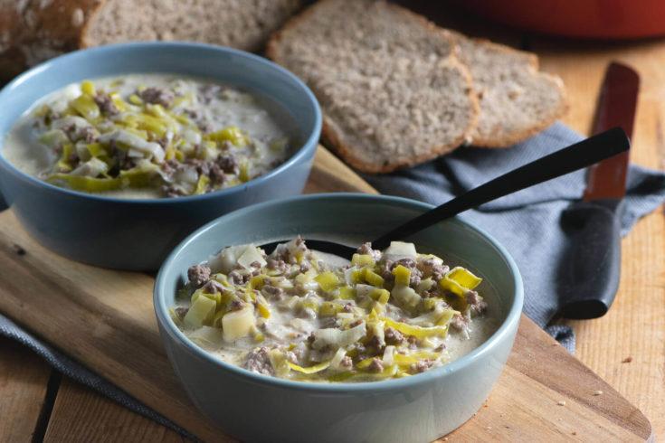 Köstliche Lauch Hackfleisch Suppe