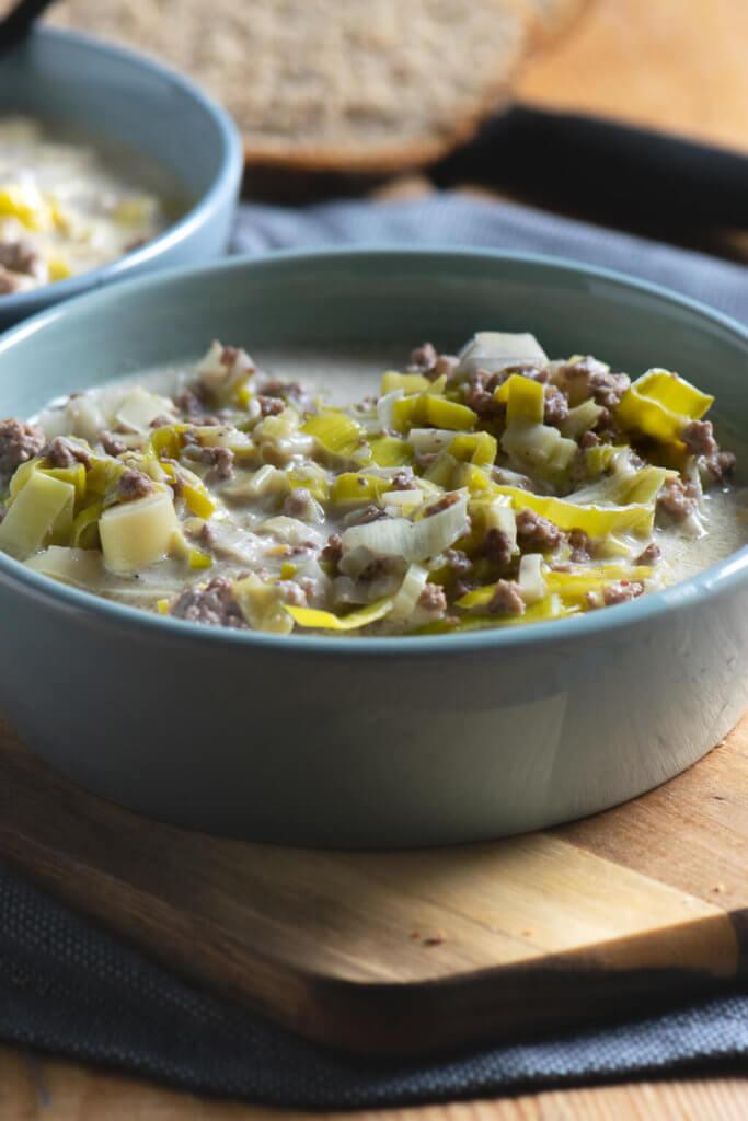 Käse Lauch Suppe mit Hackfleisch - super einfach zu kochen nach der Arbeit