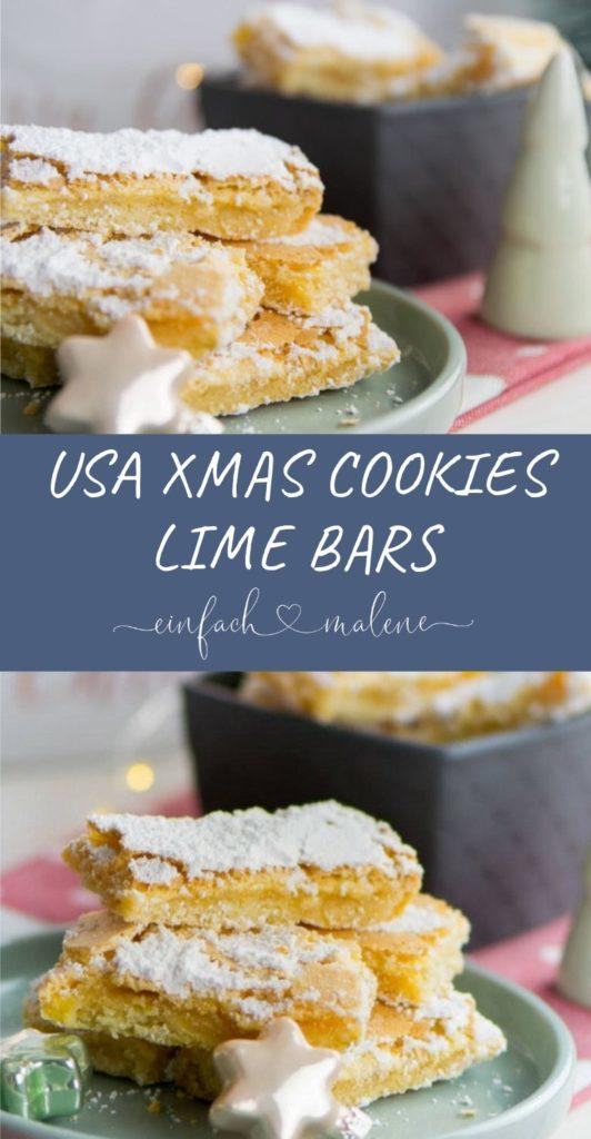 Warum nicht zu Weihnachten diese typisch amerikanischen Lime Bars backen? Einfacher Mürbeteig mit frischer Limettencreme passen in deine Weihnachtsbäckerei.