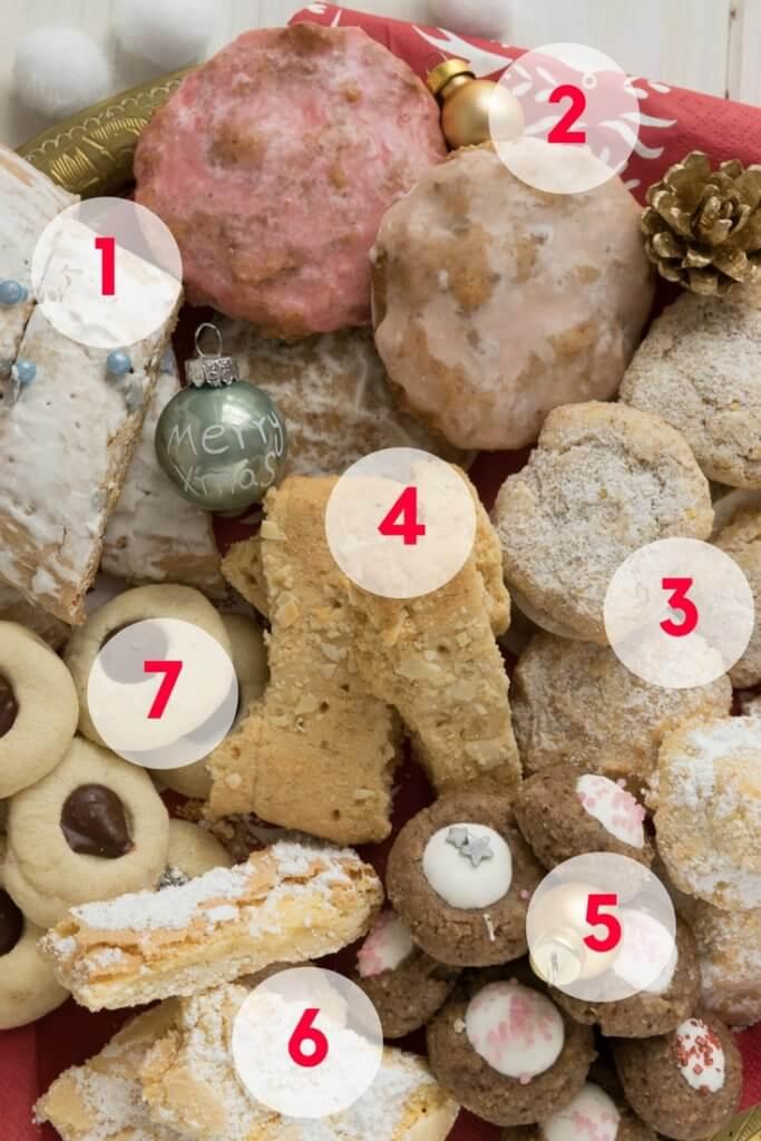 Bunter Keksteller mit Elisenlebkuchen, Weihnachtsschnitten und Orangen Amaretti