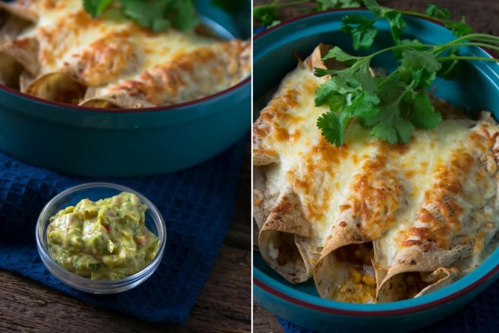 Burritos mit Geflügelfleisch und frischer Guacamole