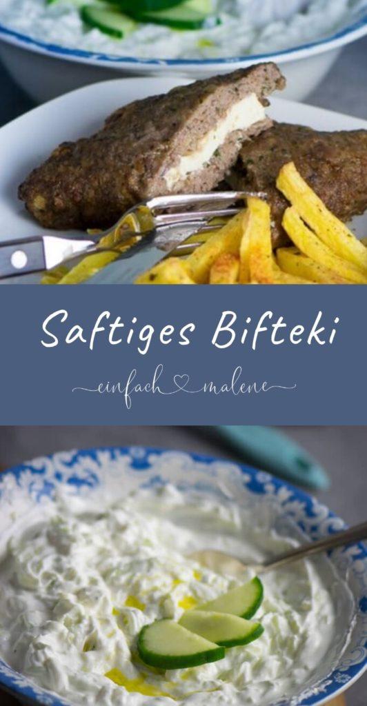 Bifteki ganz einfach zuhause braten - Wer gerne griechisch ißt, wird dieses mit Feta gefüllte Bifteki absolut lieben. Zubereitet im Airfryer, schmeckt es köstlich mit Pommes und Tzatziki. #bifteki #airfryer