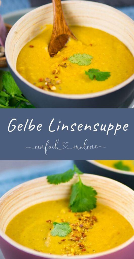 Essen für die Seele: Gelbe Linsensuppe mit Curry und Kokosmilch. Die Linsensuppe mit Curry und Kokosmilch ist echtes Soulfood und dazu noch super easy zuzubereiten. Lecker und sättigend