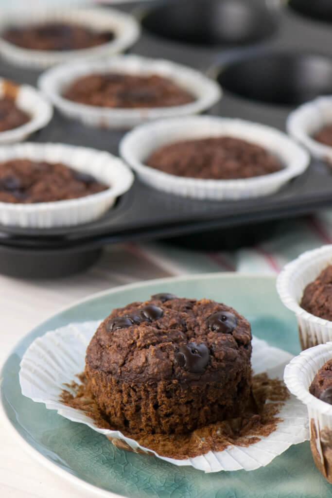 Backen mit Haferflocken, Schokoladen Muffins ohne Zucker