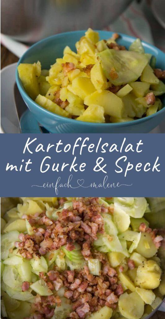 Die perfekte Grillbeilage: Gurken Speck Kartoffelsalat - richtig lecker! Ein erfrischender Kartoffelsalat, denn er wird mit Salatgurke zubereitet und und schmeckt absolut lecker. Besonders gut passt dazu knuspriger Speck! #kartoffeln #kartoffelsalat