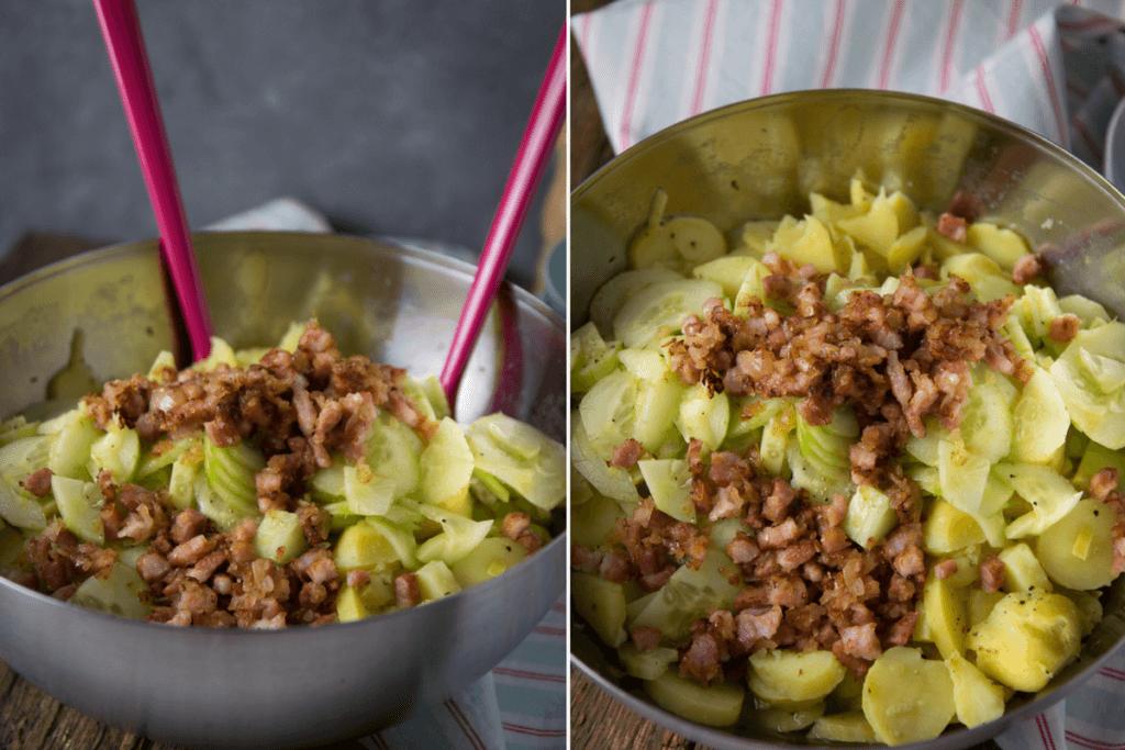 Yummy, einfaches Rezept für Gurken Speck Kartoffelsalat