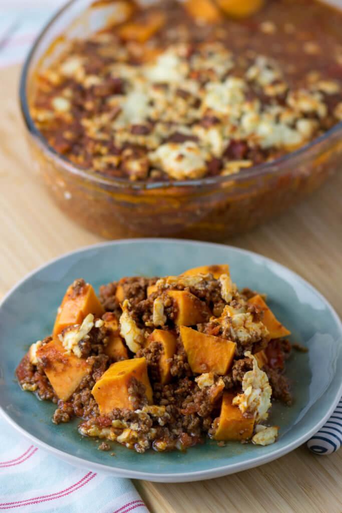 Oberlecker - Süßkartoffel Hackfleisch Auflauf mit Feta überbacken