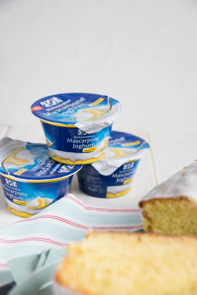 Backen mit Mascarpone Joghurt auf Zitrone von Weihenstephan