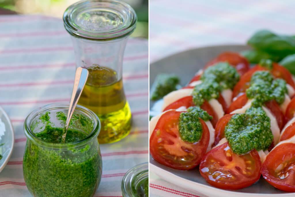 Pesto selber machen - Tomaten-Mozzarella mit Basilikumpesto Rezept