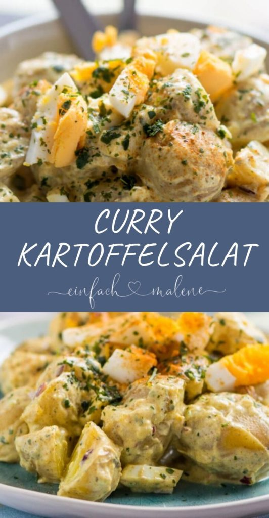 Super leckerer Kartoffelsalat mit Currydressing. Schmeckt auch hervorragend zu Frikadellen und Schnitzel, tolles Rezept für Curry Kartoffelsalat.