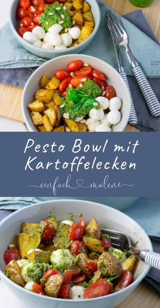 Ich bin völlig vernarrt in das so unglaublich einfache Rezept für die Pesto Bowl mit Röstkartoffeln, dass ich jedem davon erzählen muss. Die Pesto Potatoe Bowl ist so fix zubereitet, dass es doppelt gut schmeckt. #airfryer #kartoffeln #pommes #sommer #vegetarisch #rezept