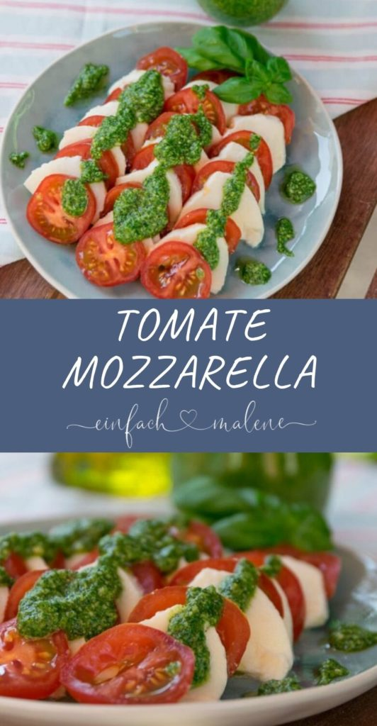 Rezept für Tomate-Mozzarella Salat und Basilikum Pesto - so einfach bereitest du dein eigenes frisches Pesto zu. du brauchst nur wenige Zutaten.