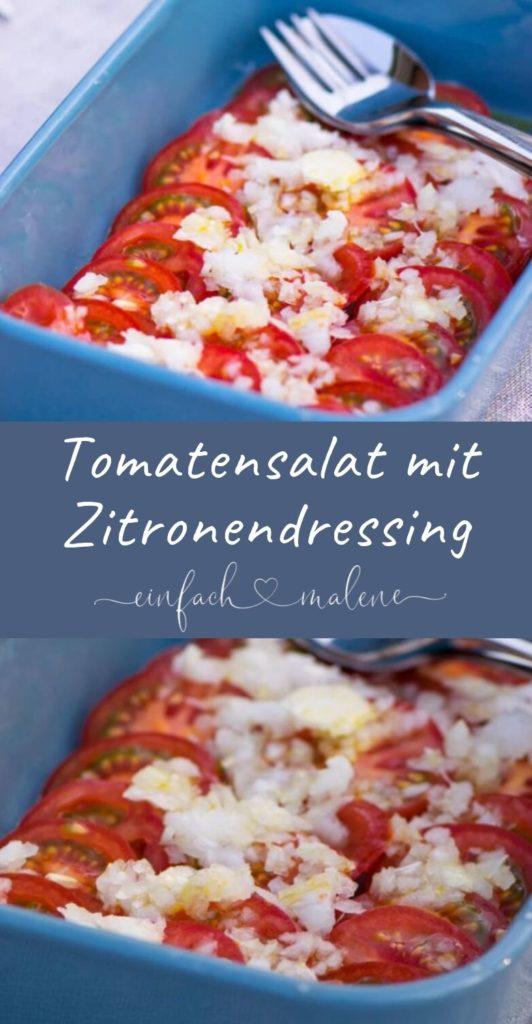 Ideal zum Grillen oder zu Fleischgerichten schmeckt dieser frische Tomatensalat mit Zwiebeln und Zitronen-Öl Dressing. Zubereitet in weniger als 10 Minuten.