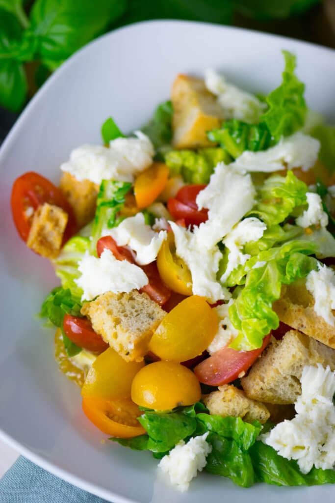 Tomaten, Salat, Mozzarella und geröstetes Brot - Yummy - einfacher Brotsalat