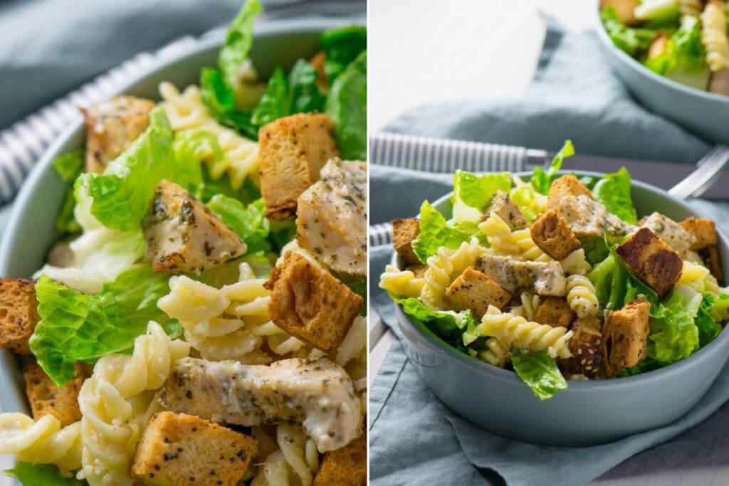 Caesar Pasta Salat mit Hähnchen