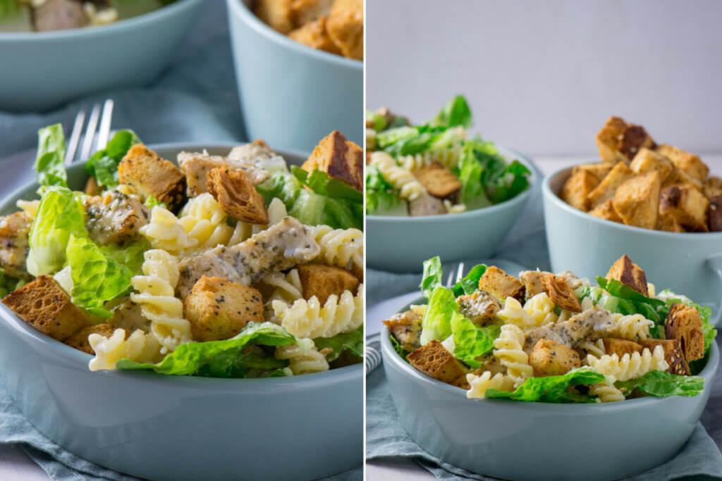 Caesar Pasta Salat mit Hähnchen, Croutons und Parmesan